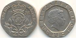 20 Penny United Kingdom (1922-) Copper/Nickel Elizabeth II (1926-)