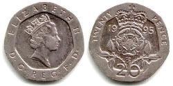 20 Penny United Kingdom (1922-)  Elizabeth II (1926-)