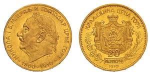 20 Perper  Monténégro Or Nicolas Ier (roi de Monténégro)