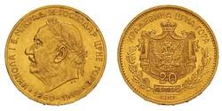 20 Perper  Montenegro Oro Nicolás I de Montenegro