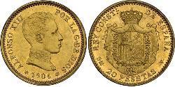 20 Peseta Kingdom of Spain (1874 - 1931) Gold Alfonso XIII of Spain (1886 - 1941)