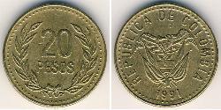 20 Peso Republic of Colombia (1886 - ) Copper/Aluminium