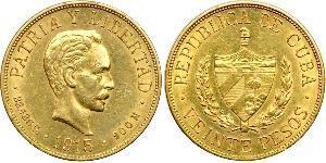 20 Peso Cuba Gold Jose Julian Marti Perez (1853 - 1895)