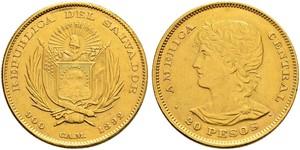 20 Peso El Salvador Gold