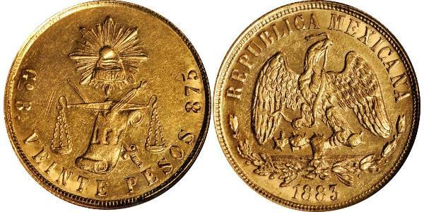 20 Peso United Mexican States (1867 - ) Gold
