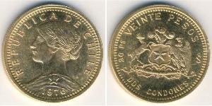 20 Peso Chili Or