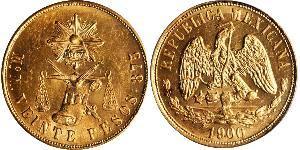20 Peso Mexique (1867 - ) Or