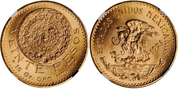20 Peso Mexique (1867 - ) Or