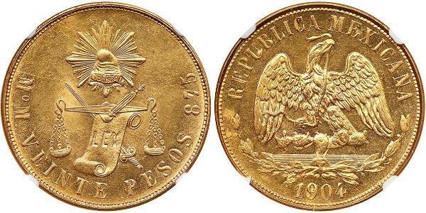 20 Peso México (1867 - ) Oro