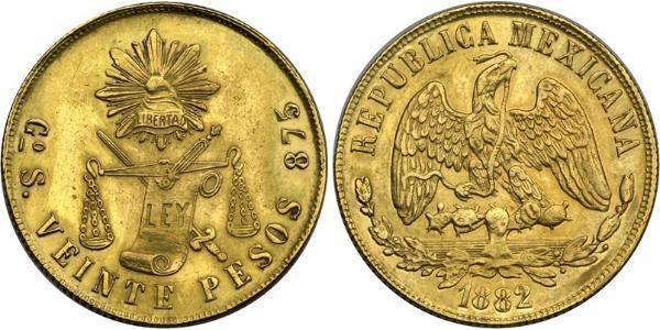 20 Peso Messico (1867 - ) Oro