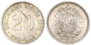 20 Pfennig Germany Silver Wilhelm I, German Emperor (1797-1888)