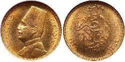 20 Piastre Kingdom of Egypt (1922 - 1953) Gold Fuad I of Egypt (1868 -1936)