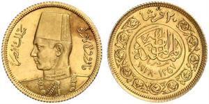 20 Piastre Reino de Egipto (1922 - 1953) Oro Faruq I de Egipto (1920 - 1965)