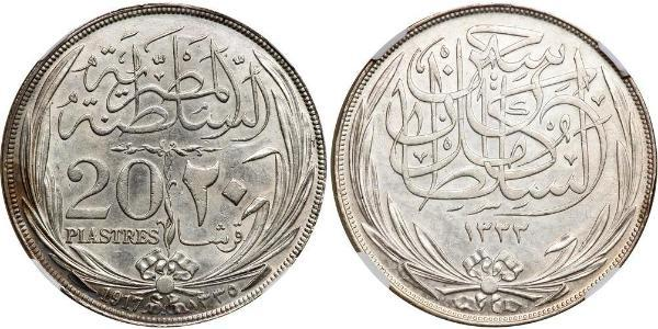 20 Piastre Sultanate of Egypt (1914 - 1922) Silver Hussein Kamel of Egypt (1853 - 1917)
