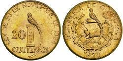 20 Quetzal República de Guatemala (1838 - ) Gold