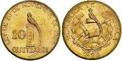 20 Quetzal Republic of Guatemala (1838 - ) Gold