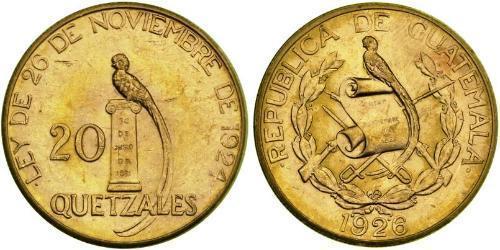 20 Quetzal Republic of Guatemala (1838 - ) Gold