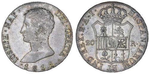 20 Real Kingdom of Spain (1808 - 1813) Argent Joseph Bonaparte