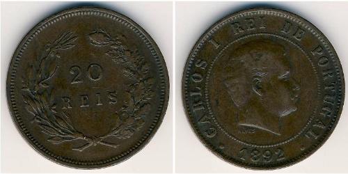 20 Reis 葡萄牙王國 (1139 - 1910) 青铜 卡洛斯一世 (葡萄牙)