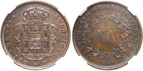 20 Reis Regno del Portogallo (1139-1910) Rame Luigi del Portogallo (1838 - 1889)