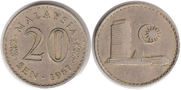 20 Sen Malaysia (1957 - ) Kupfer/Nickel