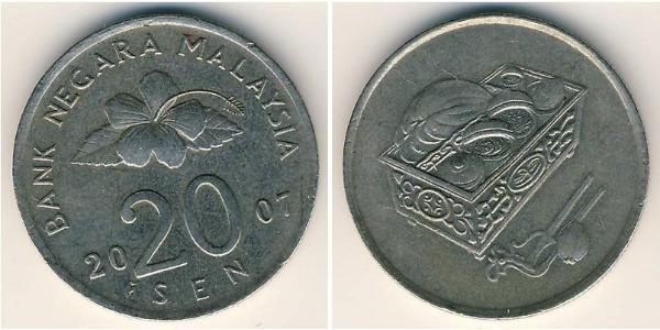 20 Sen Malasia (1957 - ) Níquel/Cobre