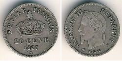 20 Sent Second French Empire (1852-1870) Silver Napoleon III (1808-1873)