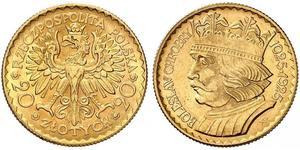 20 Zloty Zweite Polnische Republik (1918 - 1939) Gold