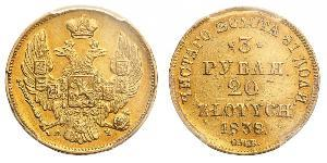 20 Zloty / 3 Rouble Empire russe (1720-1917) Or Nicolas I (1796-1855)