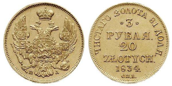20 Zloty / 3 Rublo Imperio ruso (1720-1917) Oro Nicolás I (1796-1855)