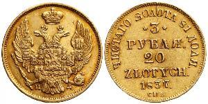 20 Zloty / 3 Rublo Impero russo (1720-1917) Oro Nicola I (1796-1855)