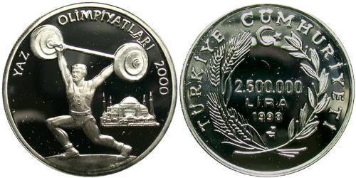 2500000 Lira Turkey (1923 - ) Silver