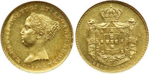2500 Рейс Королевство Португалия (1139-1910) Золото Мария II королева Португалии (1819-1853)