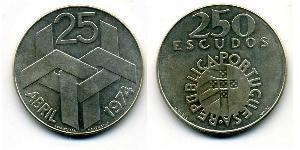 250 Escudo Portogallo (1975 - ) Argento