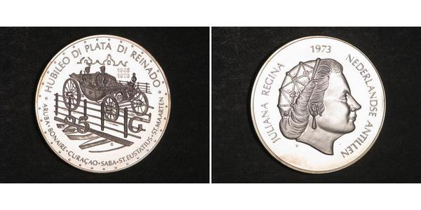 25 Гульден Нідерландські Антильські острови (1954 – 2010) Срібло Юлиана ,королева Нидерландов (1909 – 2004)
