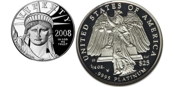 25 Долар США (1776 - ) Платина