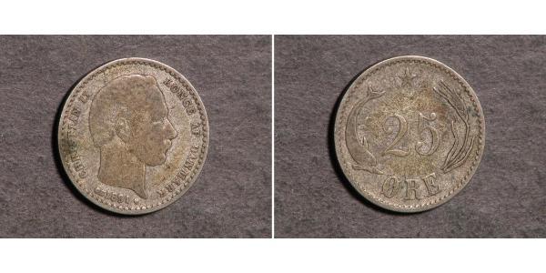 25 Ере Данія Срібло Крістіан IX король Данії (1818-1906)