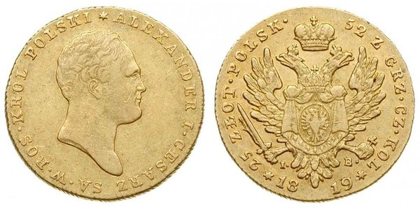 25 Злотый Царство Польское (1815-1915) Золото Александр I (1777-1825)