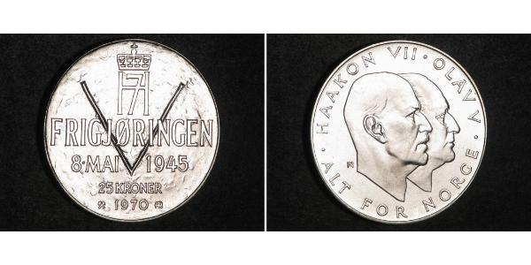 25 Крона Норвегія (1905 - ) Срібло Хокон VII (1872 - 1957) / Олаф V (1903 - 1991)