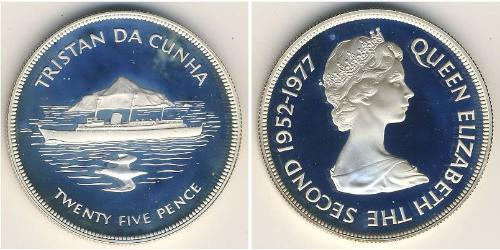 25 Пенни Тристан-да-Кунья (острова) Серебро Елизавета II (1926-)