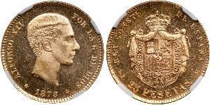 25 Песета Королевство Испания (1874 - 1931) Золото Alfonso XII of Spain (1857 -1885)
