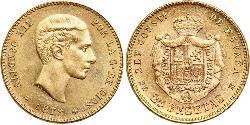 25 Песета Королівство Іспанія (1874 - 1931) Золото Alfonso XII of Spain (1857 -1885)