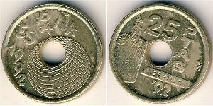 25 Песета Королівство Іспанія (1976 - ) Нікель/Бронза Хуан Карлос I (1938 - )