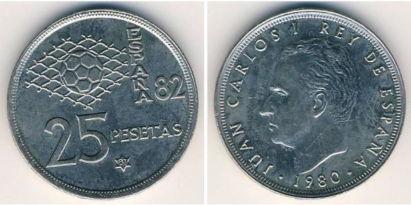 25 Песета Королівство Іспанія (1976 - ) Нікель/Мідь Хуан Карлос I (1938 - )