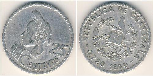 25 Сентаво Республіка Ґватемала (1838 - ) Срібло