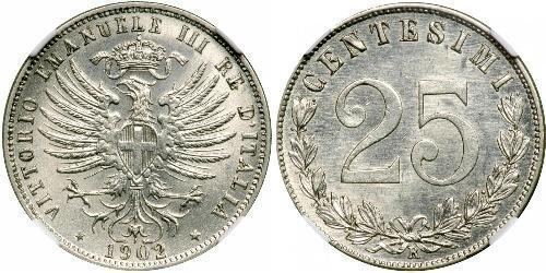 25 Сентесімо Kingdom of Italy (1861-1946) Срібло Віктор Емануїл III (1869 - 1947)