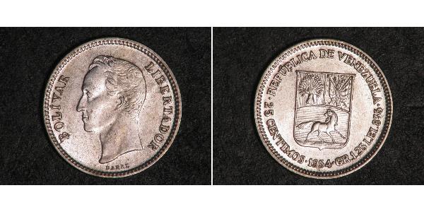 25 Сентимо Венесуэла Никель Simon Bolivar (1783 - 1830)