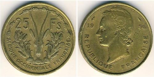 25 Франк Французская Западная Африка (1895-1958) Латунь