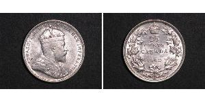 25 Цент Канада Серебро Эдуард VII (1841-1910)