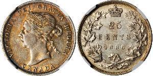 25 Цент Канада Серебро Виктория (1819 - 1901)